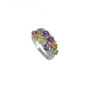 18k White Gold Diamond & Multi-Gem Ring